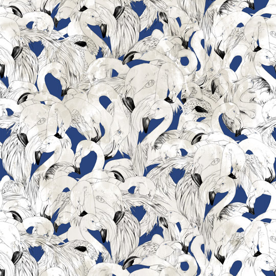 Flamingo Wallpaper Navy
