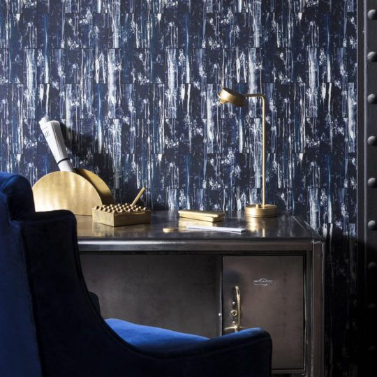Acro- Navy Wallpaper by 17 Patterns for Warehouse Home.